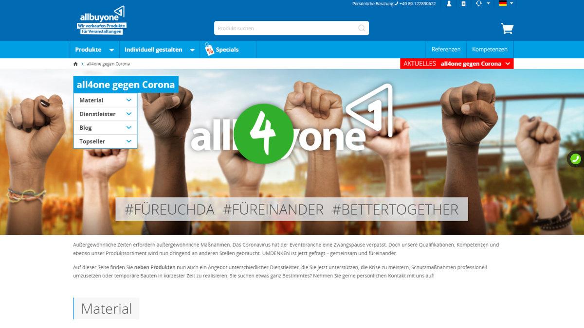 allbuyone schafft Netzwerk-Plattform gegen Corona