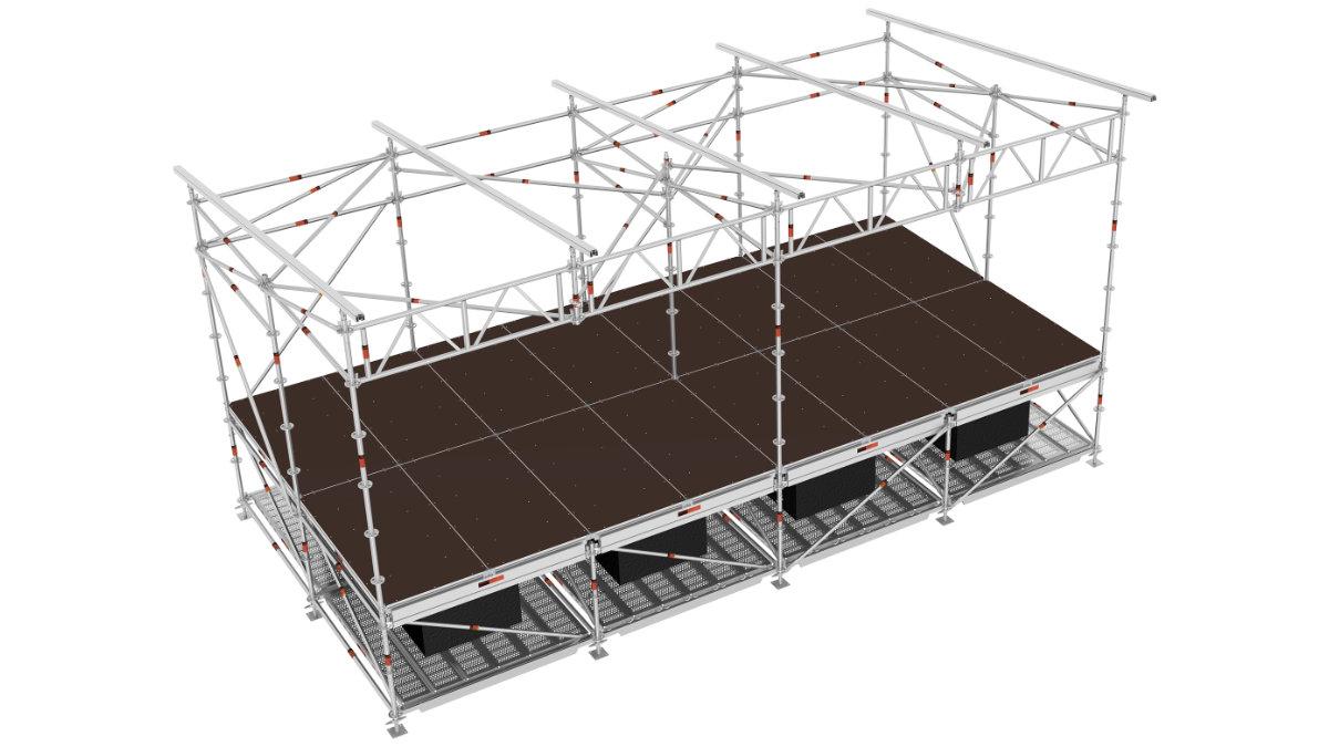 Layher bietet mit Seitenanbauten für Open-Air-Bühnen eine Systemlösung an