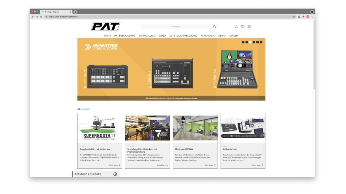 Pro Audio-Technik relauncht Webseite und B2B Shop